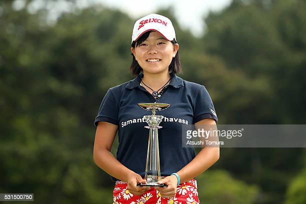 Minami Katsu of Japan poses with the trophy after the HokennoMadoguchi Ladies at the Fukuoka Country Club Ishino Course on May 15 2016 in Fukuoka...