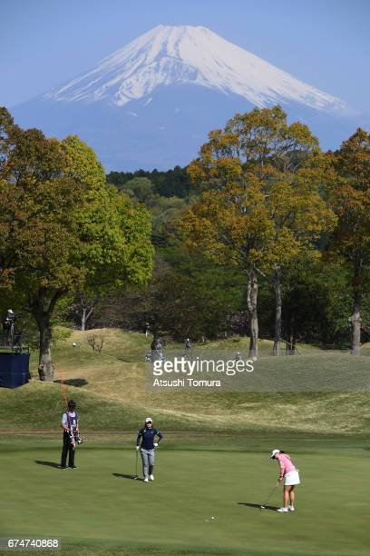 Minami Katsu of Japan putts on the 1st hole during the second round of the CyberAgent Ladies Golf Tournament at the Grand Fields Country Club on...