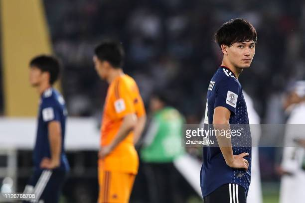 Minamino Takumi of Japan show his dejection after the AFC Asian Cup final match between Japan and Qatar at Zayed Sports City Stadium on February 01...