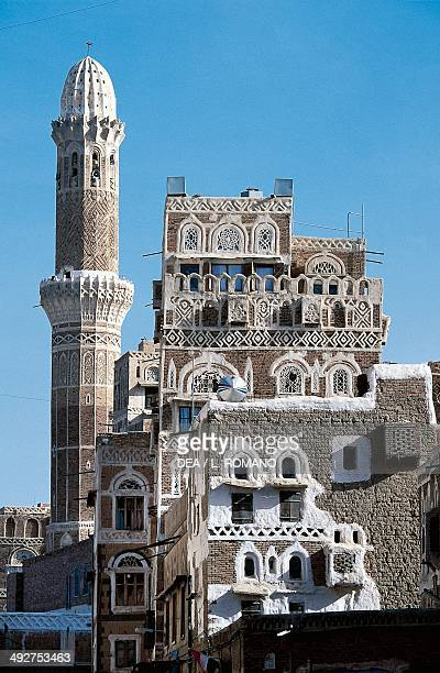 Minaret and great mosque in Sana'a' , Yemen.