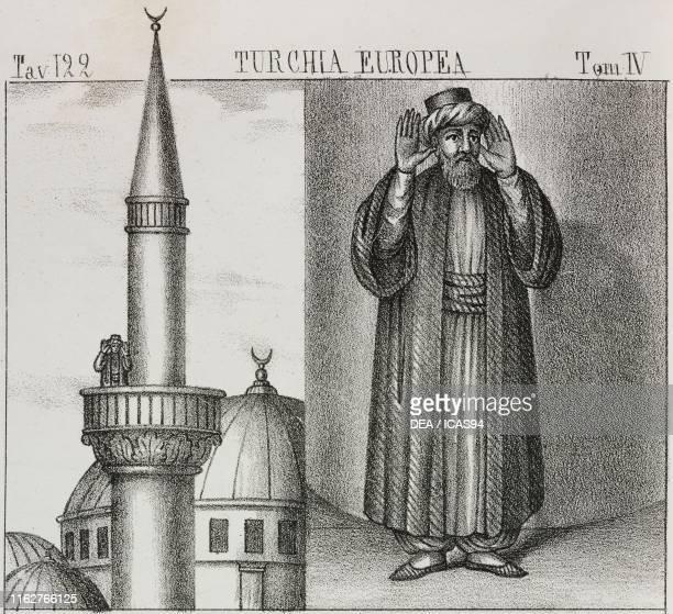 Minaret and Muezzin European Turkey lithograph from Galleria universale di tutti i popoli del mondo ossia storia dei costumi religioni riti governi...