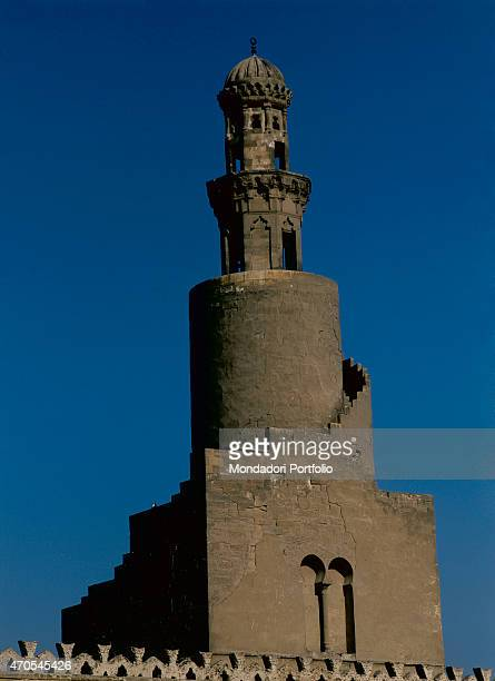 'Minaret of the Ibn Tulun Mosque by Abbasid craftsmen 9th Century sandstone Egypt Cairo Whole artwork view Sight of the unique design of the Minaret...