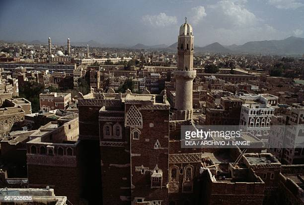 Minarets in the old city of Sana'a or San'a Yemen