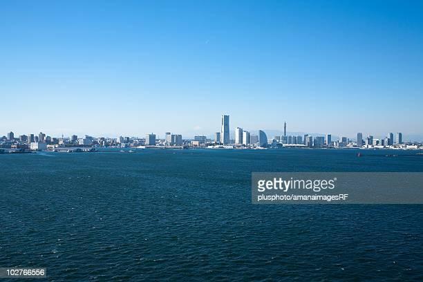 minato mirai skyline in the distance. yokohama, kanagawa prefecture, japan - yokohama stock pictures, royalty-free photos & images