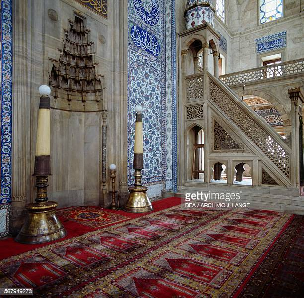 Minbar and mihrab in the Rustem Pasha Mosque 15611563 Istanbul Turkey