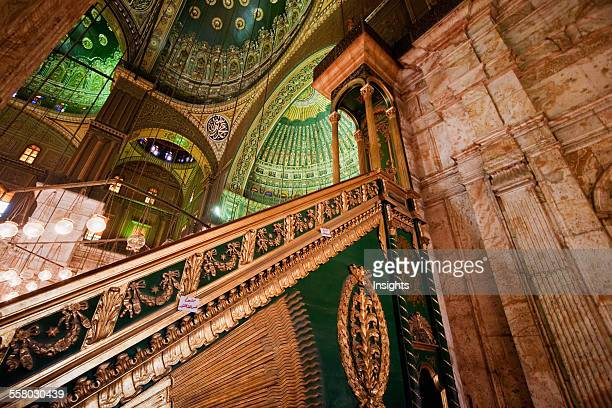 Minbar In The Prayer Hall Of The Mohammed Ali Mosque In The Citadel Of Cairo Al Qahirah Egypt