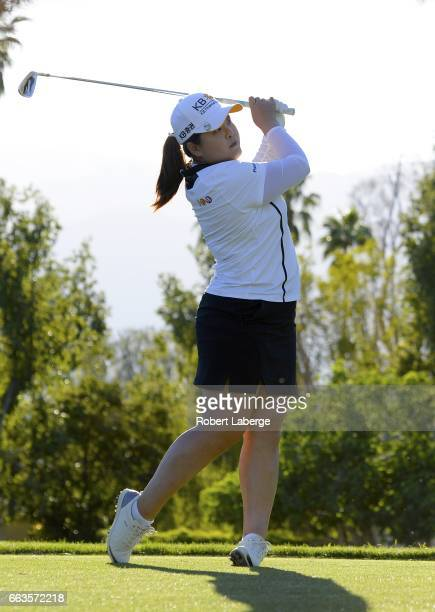MInbee Park of South Korea makes a tee shot on the 17th hole during the third round of the ANA Inspiration on the Dinah Shore Tournament Course at...