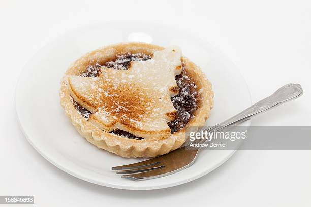 Mince pie, with Christmas tree decoration