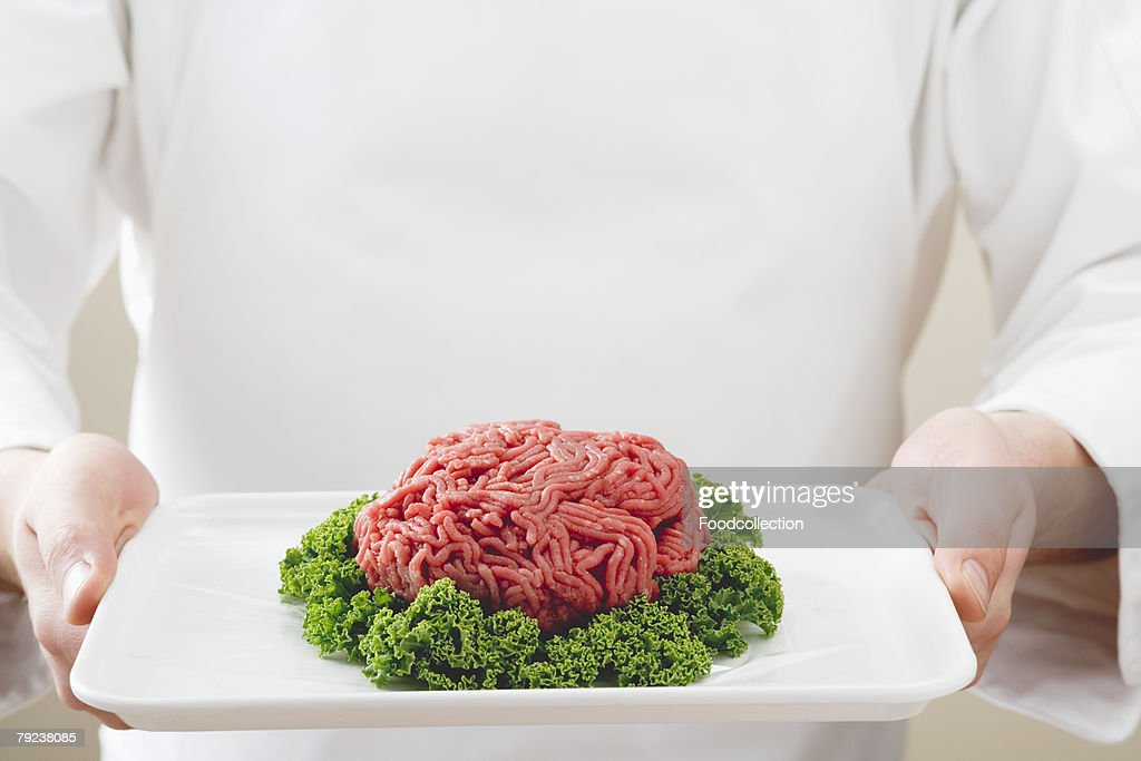 Mince with parsley on a platter : Stock Photo