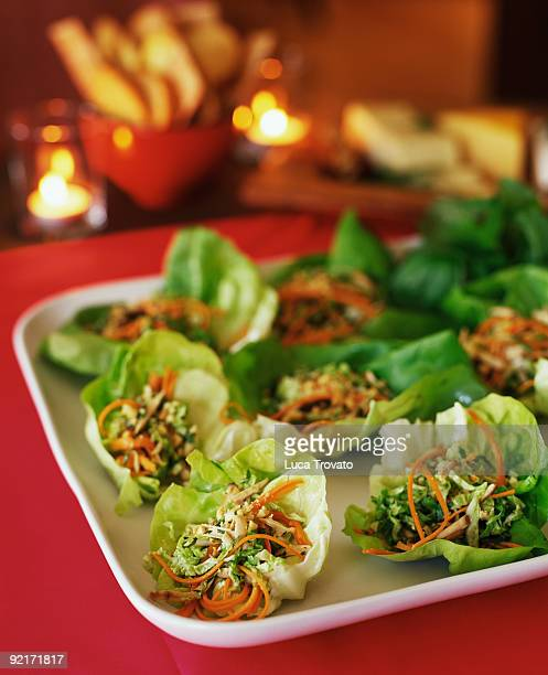 Minced Chicken and Vegetables in Lettuce Cups