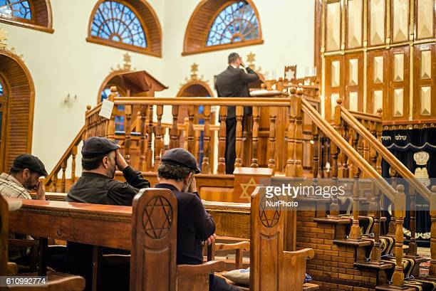 Mincha prayer service in the Sixdomed Synagogue in Qrmz Qsb or Red Town Quba district of Azerbaijan on 28 September 2016 Qrmz Qsb is a biggest...