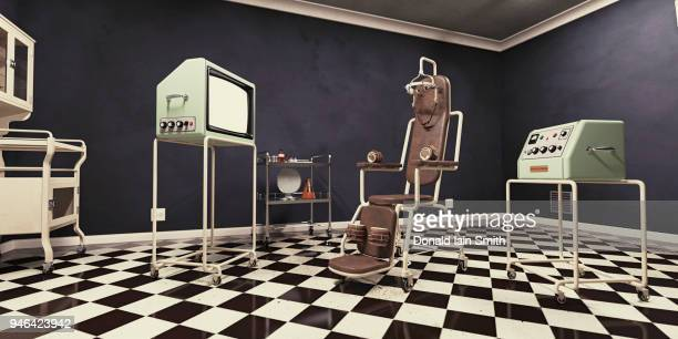 mind control chair for brainwashing - strap stock pictures, royalty-free photos & images