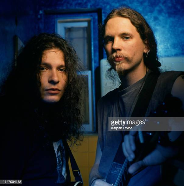 Mind Funk guitarists Jason Everman and Louis Svitek pose for a portrait on April 13 1993 in New York City New York