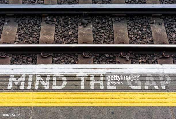Mind The Gap sign on a London Underground station platform