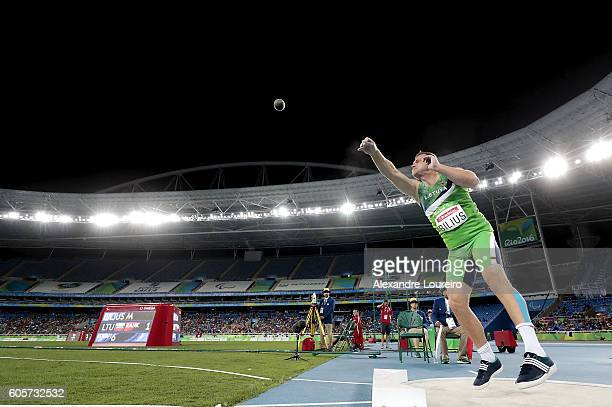 Mindaugas Bilius of Lithuania competes during the Men's Shot Put F37 final at Olympic Stadium on day 7 of the Rio 2016 Paralympic Games at on...