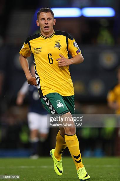 Mindaugas Grigaravicius of Lithuania during the FIFA 2018 World Cup Qualifier between Scotland and Lithuania at Hampden Park on October 8 2016 in...