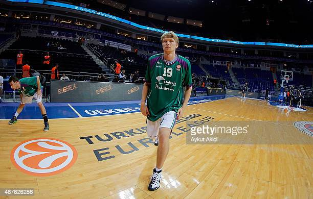 Mindaugas Kuzminskas #19 of Unicaja Malaga warmsup prior to the Turkish Airlines Euroleague Basketball Top 16 Date 12 game between Fenerbahce Ulker...