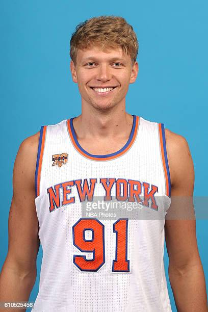 Mindaugas Kuzminskas of the New York Knicks poses for a head shot during media day at the Ritz Carlton in White Plains New York on September 26 2016...