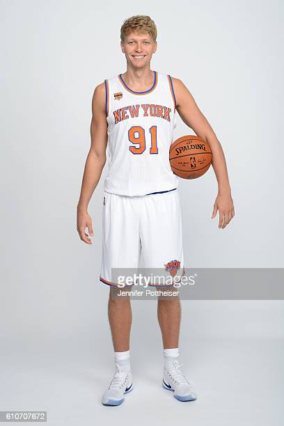 Mindaugas Kuzminskas of the New York Knicks poses for a portrait during media day at the Ritz Carlton in White Plains New York on September 26 2016...