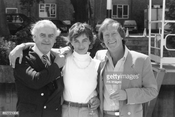 'Minder' stars George Cole and Dennis Waterman on the set of their first movie 'Minder on the Orient Express' with costar Amanda Pays who plays the...
