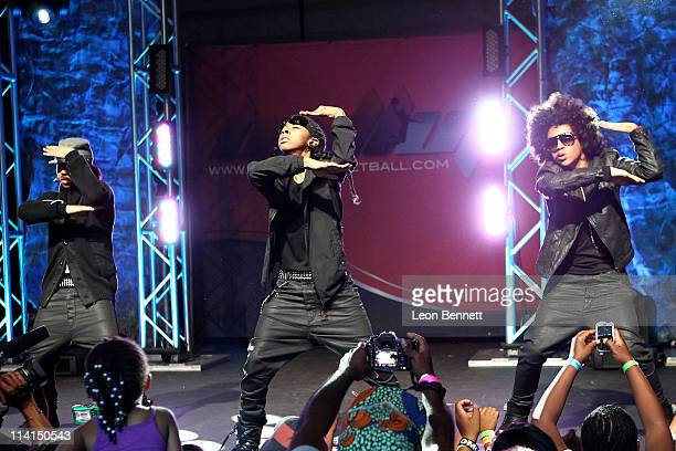 Mindless Behavior perform at halftime during Ball Up Allstars 2011 Streetball Season Game 4 at Cal State Northridge on April 17 2011 in Northridge...