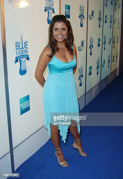 Mindy Burbano arrives at House of Blues for Blue Jam Sessions presented by Blue from American Express to help generate money and awareness for music...