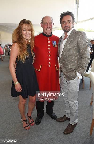 Mindy Hammond Chelsea Pensioner Tony Hunter and Richard Hammond attend the Longines hospitality lounge during the Global Champions Tour at Royal...