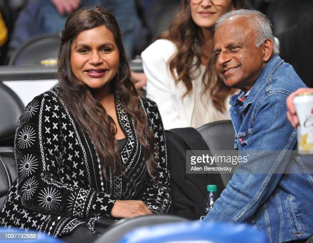 Mindy Kaling and Avu Chokalingam attend a basketball game between the Los Angeles Lakers and the Golden State Warriors at Staples Center on January...