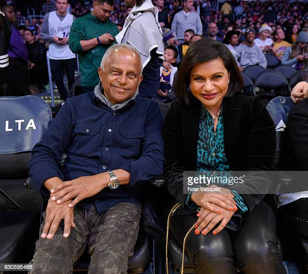Mindy Kaling and Avu Chokalingam attend a basketball game between the Utah Jazz and the Los Angeles Lakers at Staples Center on December 27 2016 in...