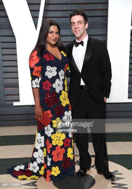 Mindy Kaling and B J Novak arrive for the Vanity Fair Oscar Party hosted by Graydon Carter at the Wallis Annenberg Center for the Performing Arts on...