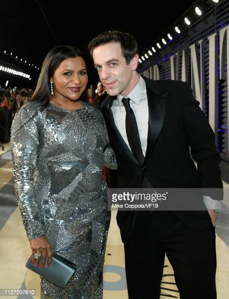 Mindy Kaling and B. J. Novak attend the 2019 Vanity Fair Oscar Party hosted by Radhika Jones at Wallis Annenberg Center for the Performing Arts on...