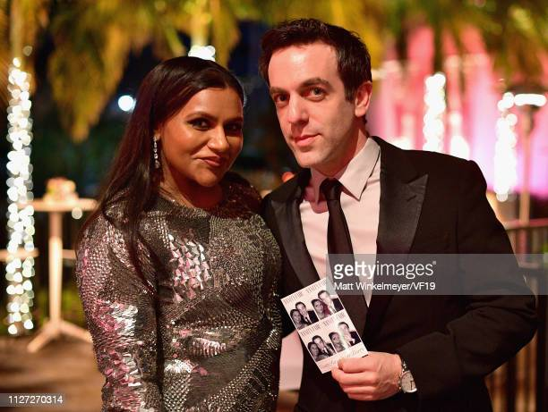 Mindy Kaling and B J Novak attend the 2019 Vanity Fair Oscar Party hosted by Radhika Jones at Wallis Annenberg Center for the Performing Arts on...