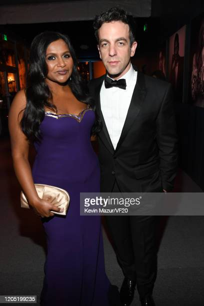 Mindy Kaling and B J Novak attend the 2020 Vanity Fair Oscar Party hosted by Radhika Jones at Wallis Annenberg Center for the Performing Arts on...