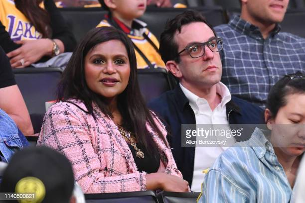 Mindy Kaling and B.J. Novak attend a basketball game between the Los Angeles Lakers and the Golden State Warriors at Staples Center on April 04, 2019...