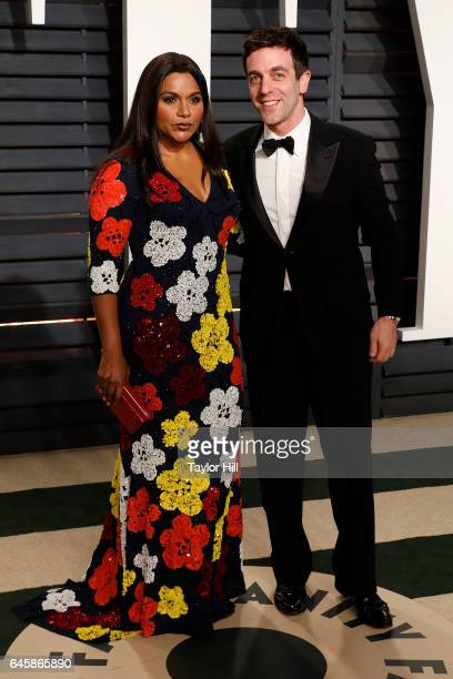 Mindy Kaling and BJ Novak attend the 2017 Vanity Fair Oscar Party at Wallis Annenberg Center for the Performing Arts on February 26 2017 in Beverly...