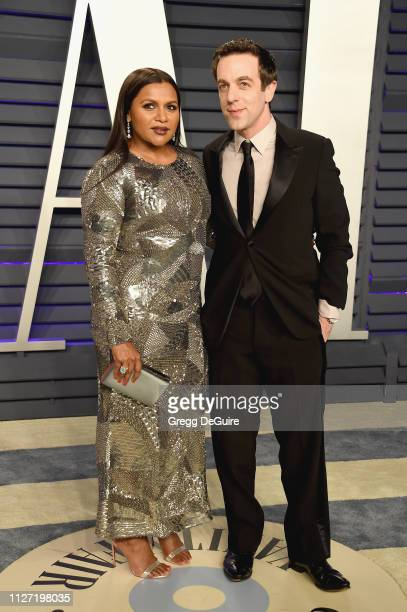 Mindy Kaling and BJ Novak attend the 2019 Vanity Fair Oscar Party hosted by Radhika Jones at Wallis Annenberg Center for the Performing Arts on...