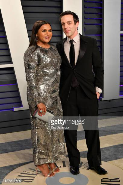 Mindy Kaling and B.J. Novak attend the 2019 Vanity Fair Oscar Party hosted by Radhika Jones at Wallis Annenberg Center for the Performing Arts on...