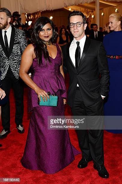 Mindy Kaling and BJ Novak attend the Costume Institute Gala for the PUNK Chaos to Couture exhibition at the Metropolitan Museum of Art on May 6 2013...