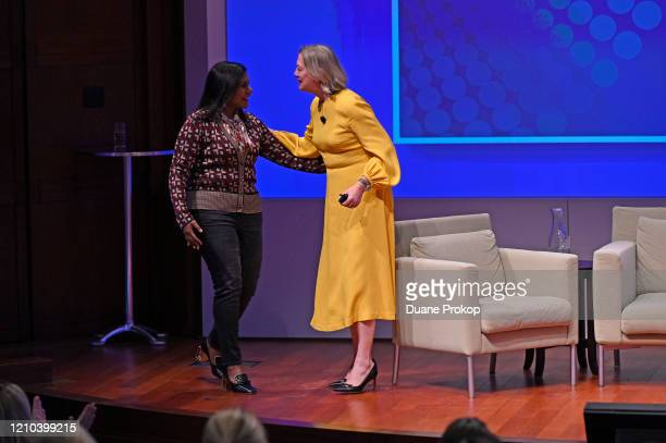 Mindy Kaling and Carolyn Tastad on stage during the PG #WeSeeEqual Forum held at Proctor Gamble on March 04 2020 in Cincinnati Ohio