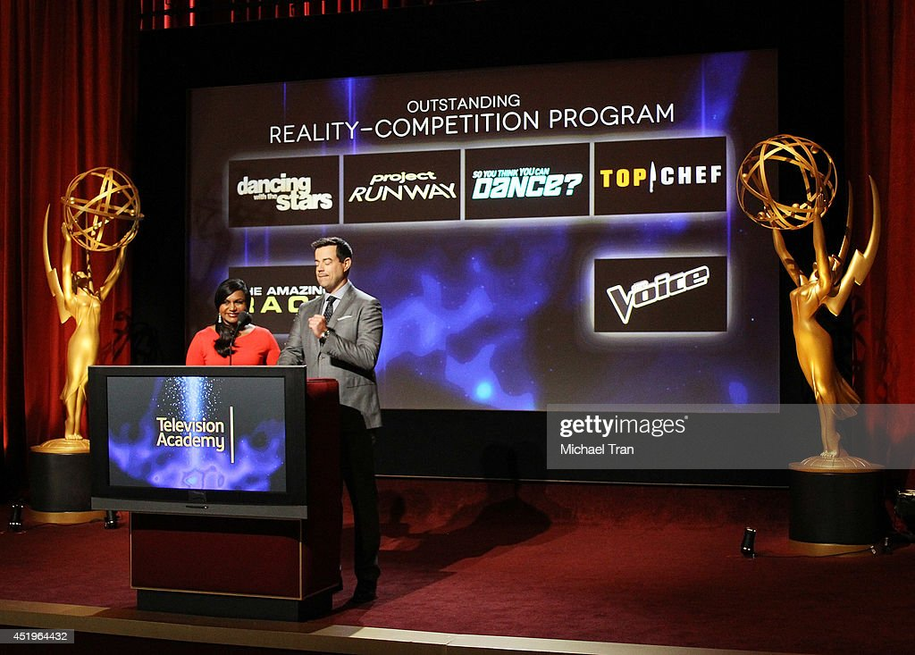 Mindy Kaling and Carson Daly announce the nominees at the 66th Primetime Emmy Awards nominations press conference held at Leonard H. Goldenson Theatre on July 10, 2014 in North Hollywood, California.