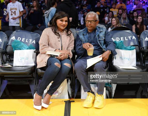 Mindy Kaling and her father Avu Chokalingam attend the Minnesota Timberwolves and Los Angeles Lakers basketball game at Staples Center April 9 in Los...