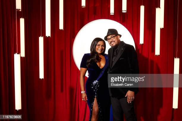 Mindy Kaling and Salvador Pérez Jr attend the 22nd Costume Designers Guild Awards at The Beverly Hilton Hotel on January 28 2020 in Beverly Hills...