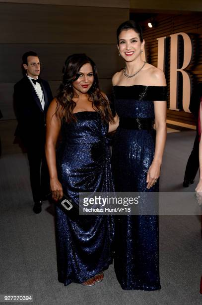 Mindy Kaling and Vanity Fair EditorinChief Radhika Jones attend the 2018 Vanity Fair Oscar Party hosted by Radhika Jones at Wallis Annenberg Center...