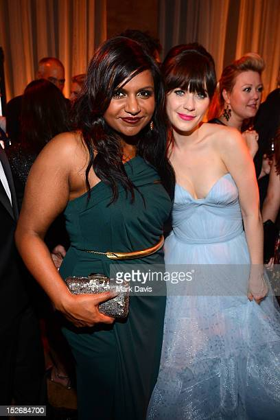 Mindy Kaling and Zooey Deschanel attend FOX Broadcasting Company Twentieth Century FOX Television and FX post Emmy party at Soleto on September 23...