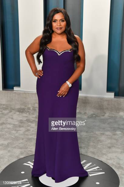 Mindy Kaling arrives at the 2020 Vanity Fair Oscar Party hosted by Radhika Jones at Wallis Annenberg Center for the Performing Arts on February 09...