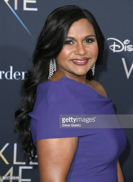 """Mindy Kaling arrives at the Premiere Of Disney's """"A Wrinkle In Time"""" on February 26, 2018 in Los Angeles, California."""