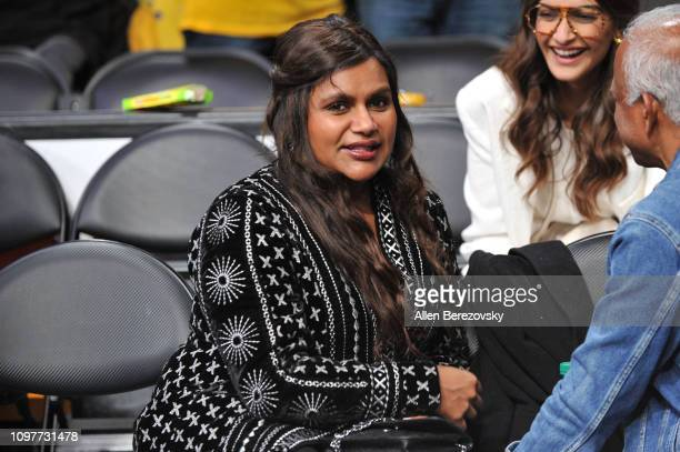 Mindy Kaling attends a basketball game between the Los Angeles Lakers and the Golden State Warriors at Staples Center on January 21 2019 in Los...