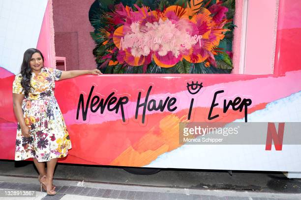 Mindy Kaling attends as Netflix hosts a mobile truck pop up activation in celebration of the launch of NEVER HAVE I EVER Season 2 on July 15, 2021 in...