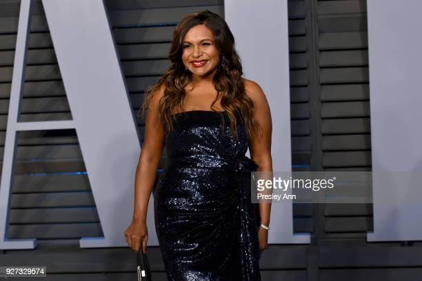 Mindy Kaling attends the 2018 Vanity Fair Oscar Party Hosted By Radhika Jones - Arrivals at Wallis Annenberg Center for the Performing Arts on March...