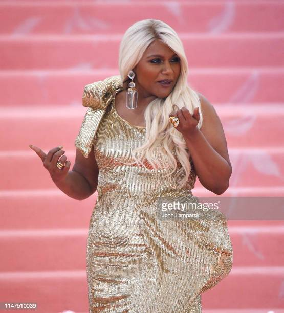 Mindy Kaling attends The 2019 Met Gala Celebrating Camp Notes On Fashion Arrivals at The Metropolitan Museum of Art on May 06 2019 in New York City